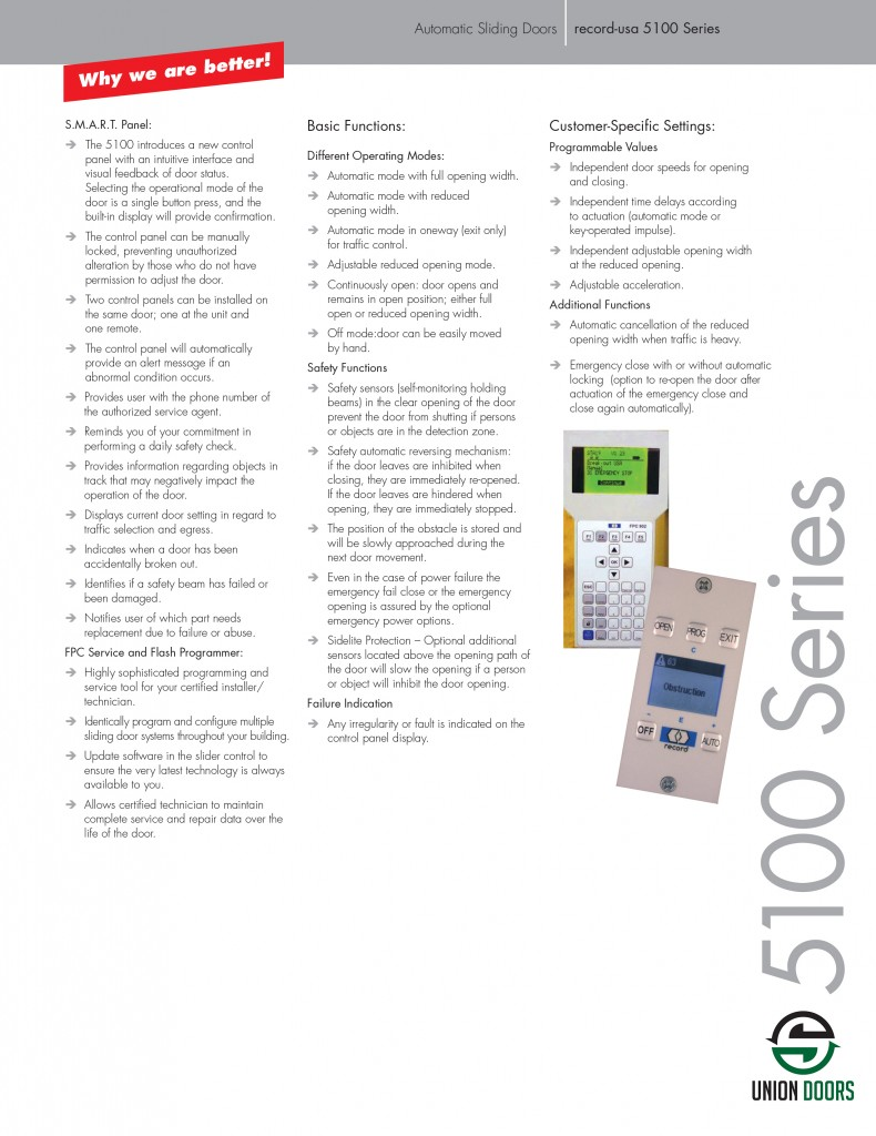 5100 Series Automatic Door Installation And Service Ma